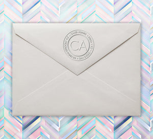 Caleb Personalized Return Address Standard Embosser on envelope