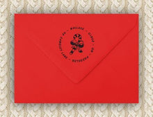 Candy Cane Personalized Self-inking Round Return Address Stamp on Envelope