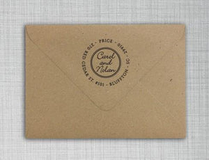 Caleb Personalized Self-inking Round Return Address Stamp on Envelope