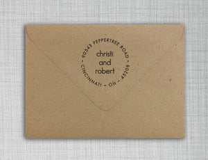 Christi Personalized Self-inking Round Return Address Stamp on Envelope
