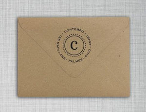 Contempo Personalized Self-inking Round Return Address Stamp on Envelope