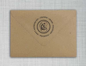 Crown Personalized Self-inking Round Return Address Stamp on Envelope