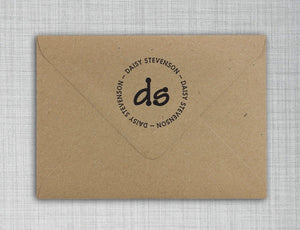 Daisy Personalized Self Inking Round Monogram Stamp on envelope