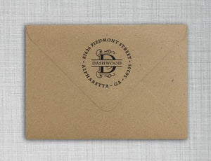Dashwood Letter Return Address Self-Inking Stamp on envelope