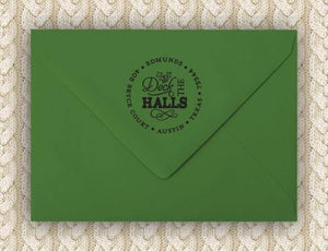 Deck the Halls Personalized Self-inking Round Return Address Stamp on Envelope