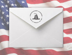 Dont Personalized Self-inking Round Return Address Stamp on Envelope