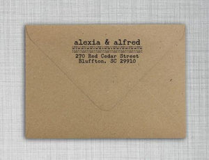 Alexia Rectangle Personalized Self Inking Return Address Stamp on Envelope