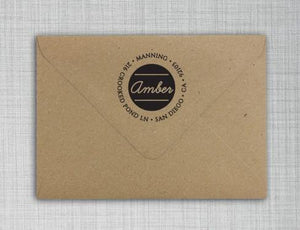 Amber Personalized Self Inking Round Return Address Stamp on Envelope