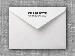 Charlotte Rectangle Personalized Self Inking Return Address Stamp on Envelope