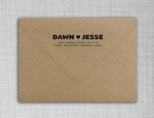 Dawn Rectangle Personalized Self Inking Return Address Stamp on Envelope