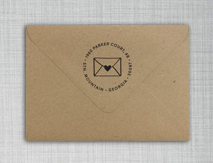 Envelope Personalized Self-inking Round Return Address Stamp on Envelope