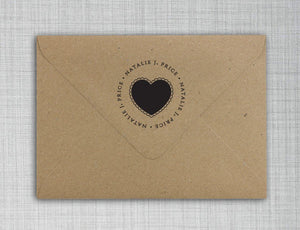 Fancy Personalized Self-inking Round Return Address Stamp on Envelope