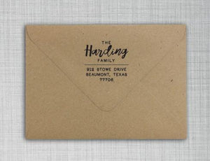 Harding Personalized Self-inking Round Return Address Stamp on Envelope
