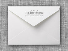 Jefferson Rectangle Personalized Self Inking Return Address Stamp on Envelope