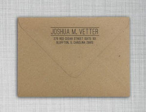 Joshua Rectangle Personalized Self Inking Return Address Stamp on Envelope