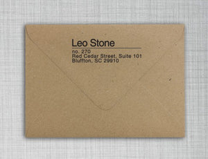 Leo Rectangle Personalized Self Inking Return Address Stamp on Envelope