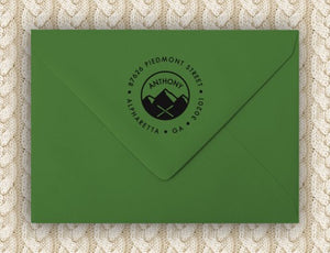 Mountain Personalized Self-inking Round Return Address Stamp on Envelope