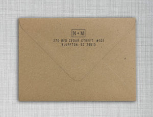 Nicole Rectangle Personalized Self Inking Return Address Stamp on Envelope