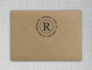 Reginald Personalized Self-inking Round Return Address Design on Envelope
