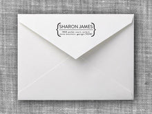 Sharon Rectangle Personalized Self Inking Return Address Stamp on Envelope