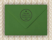 Simple Personalized Self-inking Round Return Address Stamp on Envelope