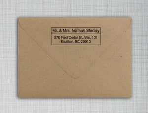 Stanley Rectangle Personalized Self Inking Return Address Stamp on Envelope