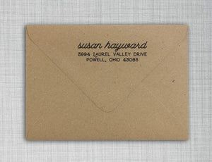 Susan Rectangle Personalized Self Inking Return Address Stamp on Envelope