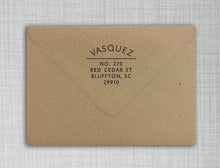 Vasquez Round Personalized Self Inking Return Address Stamp on Envelope