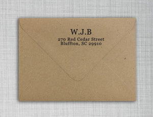 Wayne Rectangle Personalized Return Address Stamp on Envelope