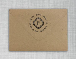 Edith Personalized Self-inking Round Return Address Stamp on Envelope
