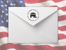 Gop Personalized Self-inking Round Return Address Stamp on Envelope