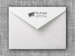 Ella Rectangle Personalized Self Inking Return Address Stamp on Envelope