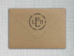 Eubanks Personalized Self-inking Round Return Address Stamp on Envelope