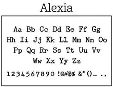 Alexia Rectangle Personalized Self Inking Return Address Stamp font sample
