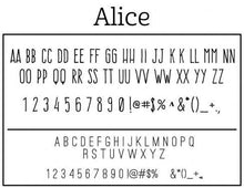 Alice Rectangle Personalized Self Inking Return Address Stamp font sample