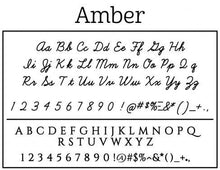 Amber Personalized Self Inking Round Return Address Stamp font sample