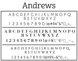 Andrews Personalized Self Inking Round Return Address Stamp fonts