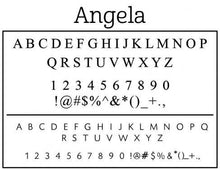 Angela Rectangle Personalized Self Inking Return Address Stamp font