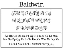 Baldwin Personalized Self Inking Round Return Address Stamp font