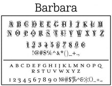 Barbara Rectangle Personalized Self Inking Return Address Stamp font