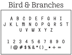 Kelly Hughes Bird & Branches Personalized Self-inking Round Return Address Stamp Font