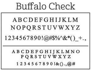 Kelly Hughes Buffalo Check Personalized Self-inking Round Return Address Stamp Font