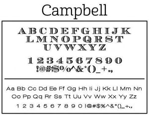 Campbell Rectangle Personalized Self Inking Return Address Stamp font