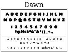 Dawn Rectangle Personalized Self Inking Return Address Stamp font