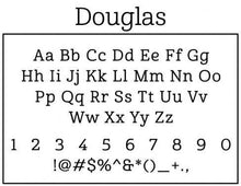 Douglas Rectangle Personalized Self Inking Return Address Stamp font