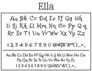 Ella Rectangle Personalized Self Inking Return Address Stamp font
