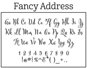 Fancy Address Rectangle Personalized Self Inking Return Address Stamp font