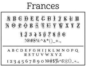 Frances Personalized Self-inking Round Return Address Stamp on Envelope
