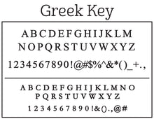 Kelly Hughes Greek Key Personalized Self-inking Round Return Address Stamp Font