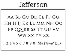 Jefferson Rectangle Personalized Self Inking Return Address Stamp font